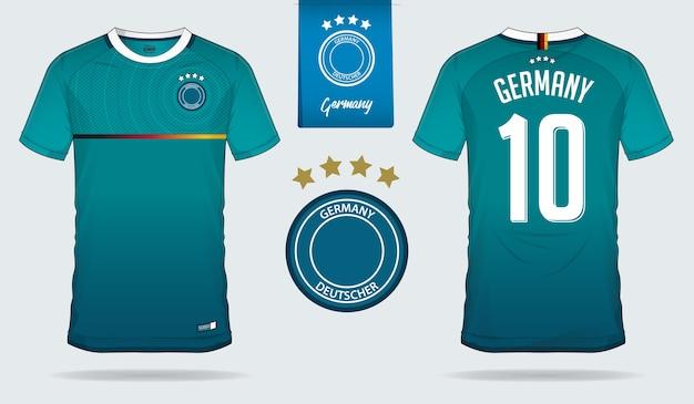 Duitsland voetbal jersey of voetbal kit sjabloonontwerp.