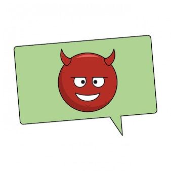 Duivel emoticon in zeepbel
