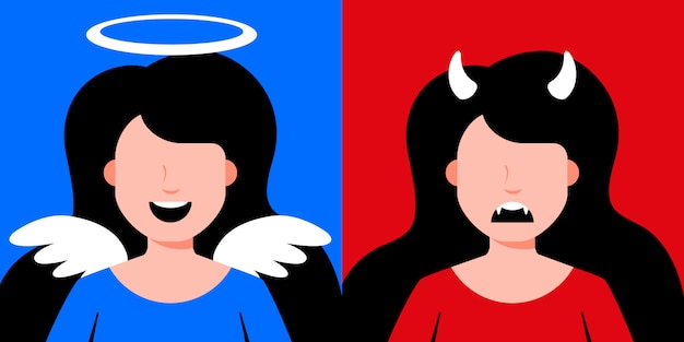 Duivel en engel meisjes illustratie