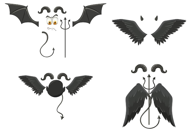 Duivel en engel ontwerpelementen