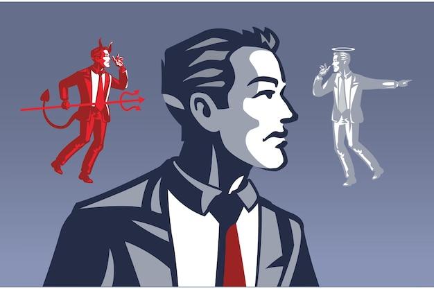 Duivel en heilige fluisteren naar zakenman blauwe kraag illustratie concept