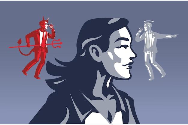 Duivel en heilige gefluister naar vrouw blauwe kraag illustratie concept