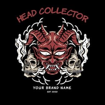 Duivel en schedel hoofd illustratie