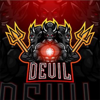 Duivel esport mascotte logo ontwerp
