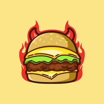 Duivel hamburger fastfood maaltijd