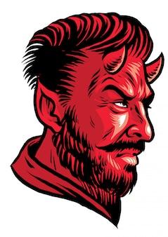 Duivel hoofd in de hand tekenstijl