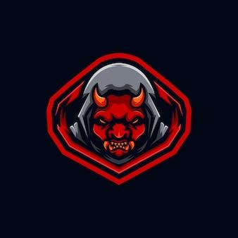 Duivel kwaad esport logo ontwerpsjabloon