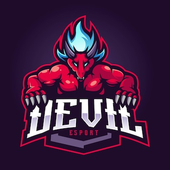 Duivel mascotte esport logo ontwerp met moderne illustratie conceptstijl voor badge en embleem