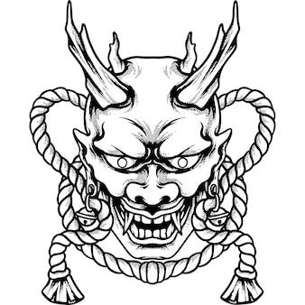 Duivel masker japan silhouet