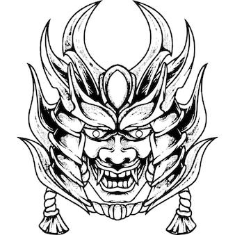 Duivel masker samoerai silhouet Premium Vector