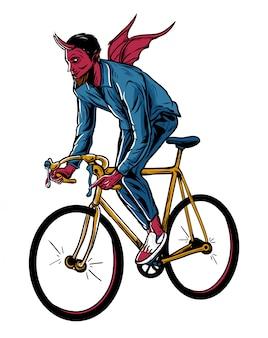 Duivel paardrijden fiets illustratie