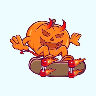 Duivel pompoen spelen skateboard cartoon vector. halloween platte cartoonstijl premium vector