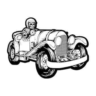 Duivel ruiters met vintage a auto