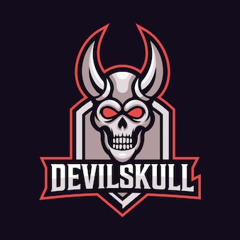 Duivel schedel mascotte sport logo