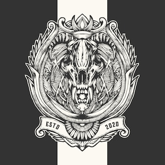Duivel schedel vintage