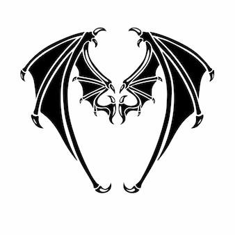 Duivel vleugels logo tattoo design stencil vectorillustratie