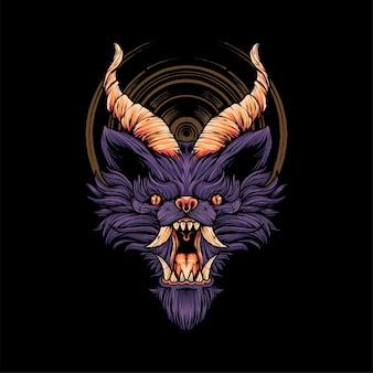 Duivel wolf hoofd illustratie t-shirt illustratie premium vector