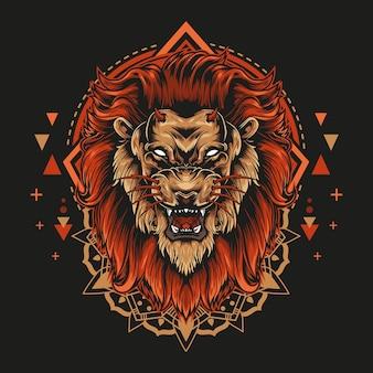 Duivelsleeuw met boos gezicht en mandala-geometrie illustratiestijl op zwarte achtergrond.