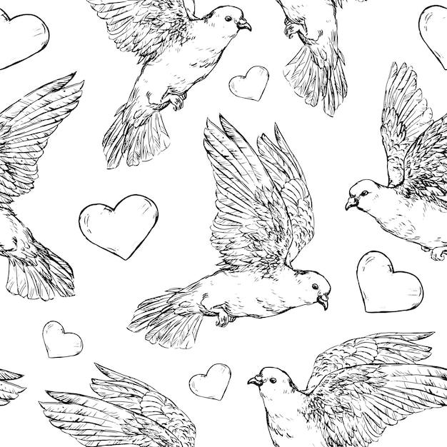 Duiven en hart naadloze patroon vectorillustratie realistische hand getrokken schets duiven