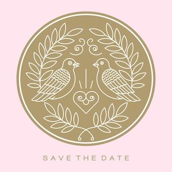 Duiven vogels goud bruidspaar tekenen