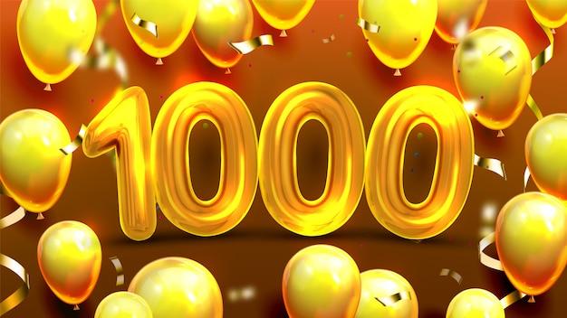 Duizend 1000 met ballon banner