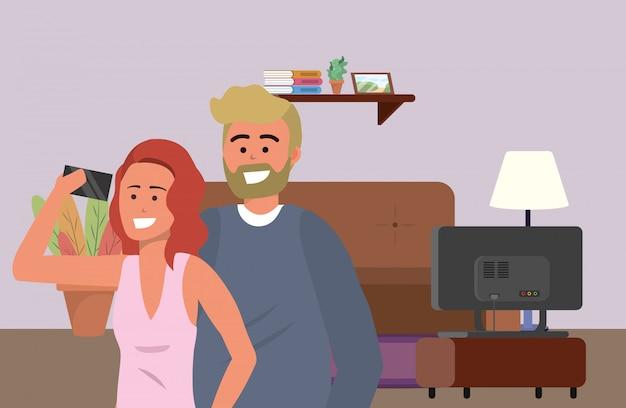 Duizendjarig echtpaar binnenshuis selfie