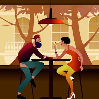 Duizendjarig paar aan een tafel in een zomerterras. vlakke afbeelding.
