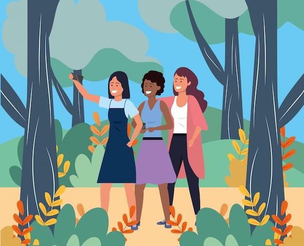 Duizendjarige groep die selfie natuur neemt