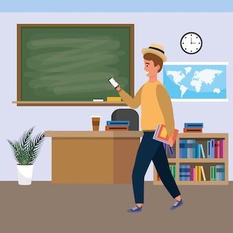 Duizendjarige student binnenshuis klaslokaal