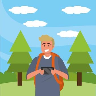 Duizendjarige student die smartphone in openlucht gebruikt