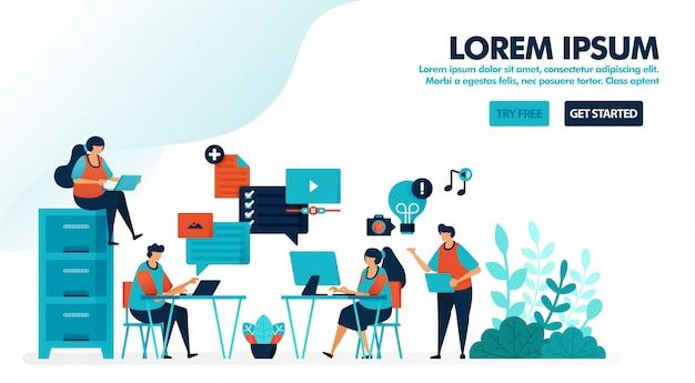 Duizendjarige werkplekideeën voor brainstormen, opstarten van bedrijfsbureau