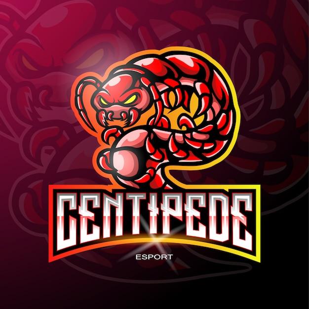 Duizendpoot mascotte voor gaming-logo.