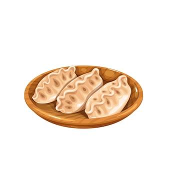 Dumplings chinese keuken icoon. aziatisch eten vectorillustratie.
