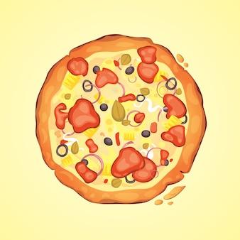 Dun gesneden pepperoni is een populaire pizza. italiaanse kok en pizza's bezorgen.