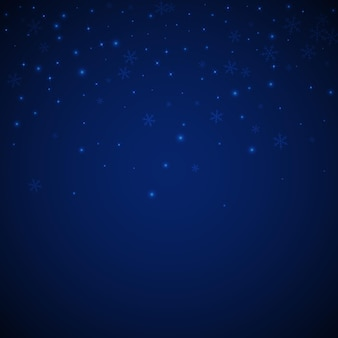 Dunne gloeiende sneeuw kerst achtergrond. subtiele vliegende sneeuwvlokken en sterren op donkerblauwe nachtachtergrond. levend winter zilveren sneeuwvlok overlay sjabloon. chique vectorillustratie.
