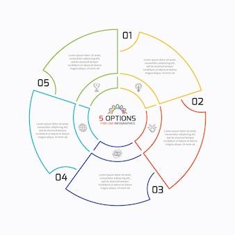 Dunne lijn cirkeldiagram infographic sjabloon met vijf opties.