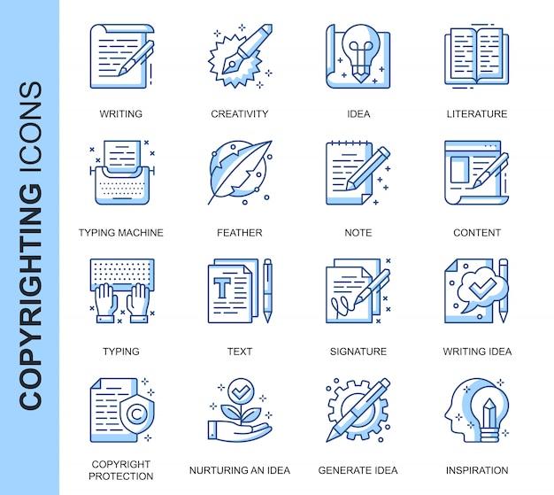 Dunne lijn copyrighting gerelateerde pictogrammen instellen