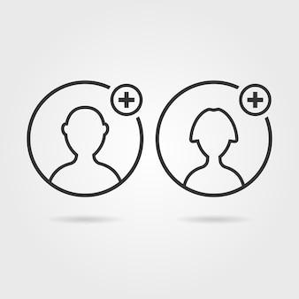 Dunne lijn gebruikerspictogrammen zoals contact toevoegen. concept van gebruiksvriendelijk, assistentie, teamwork, consultant, klant, admin. geïsoleerd op een grijze achtergrond. vlakke stijl trend moderne logo ontwerp vectorillustratie