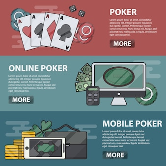 Dunne lijn horizontale banners van online en mobiel poker. bedrijfsconcept van casino, gokken en geldspel. set poker elementen.