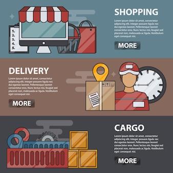 Dunne lijn horizontale banners van winkelen, bezorgen en vracht. bedrijfsconcept van logistiek, transport, e-commerce en online marketing. set leveringselementen.