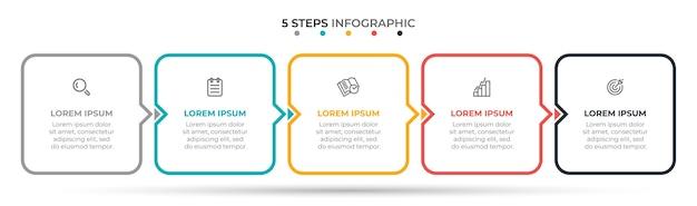 Dunne lijn infographic sjabloon 5 opties of stappen