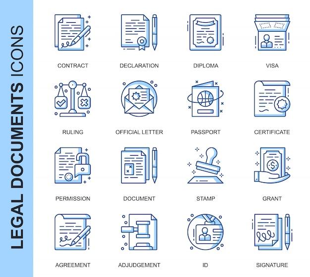 Dunne lijn juridische documenten gerelateerde pictogrammen instellen
