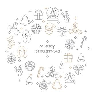 Dunne lijn merry christmas pictogrammen instellen