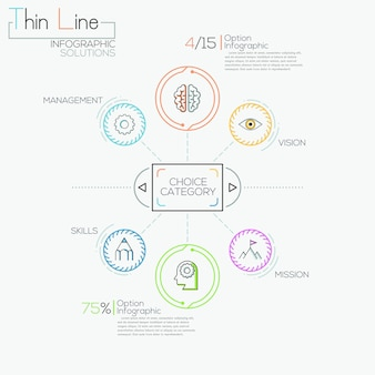 Dunne lijn minimale infographics opties banner