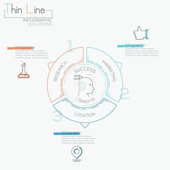 Dunne lijn minimale pijl conjunctuursjabloon infographic