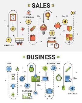 Dunne lijn plat ontwerp verkoop en business concept banners