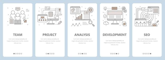 Dunne lijn plat ontwerp, webontwikkeling, seo concept banners