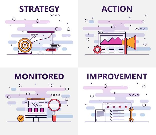Dunne lijn platte ontwerp actieplan concept banners