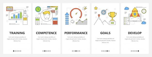 Dunne lijn platte ontwerp carrière concept verticale banners