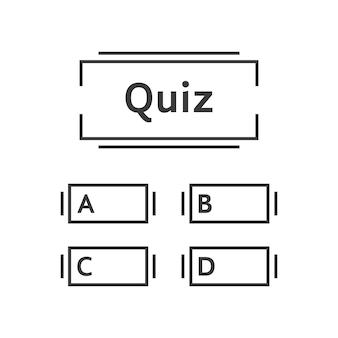 Dunne lijn quiz spel sjabloon. concept van intelligentie, speeltijd, wedstrijd, onderzoek, blanco formulier, onderzoeken. vlakke lineaire stijl trend modern grafisch ontwerp vectorillustratie op witte achtergrond